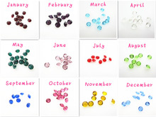 Hot selling 120pcs/lot mix  5mm12 month birthstone crystal floating charms living glass floating memory lockets