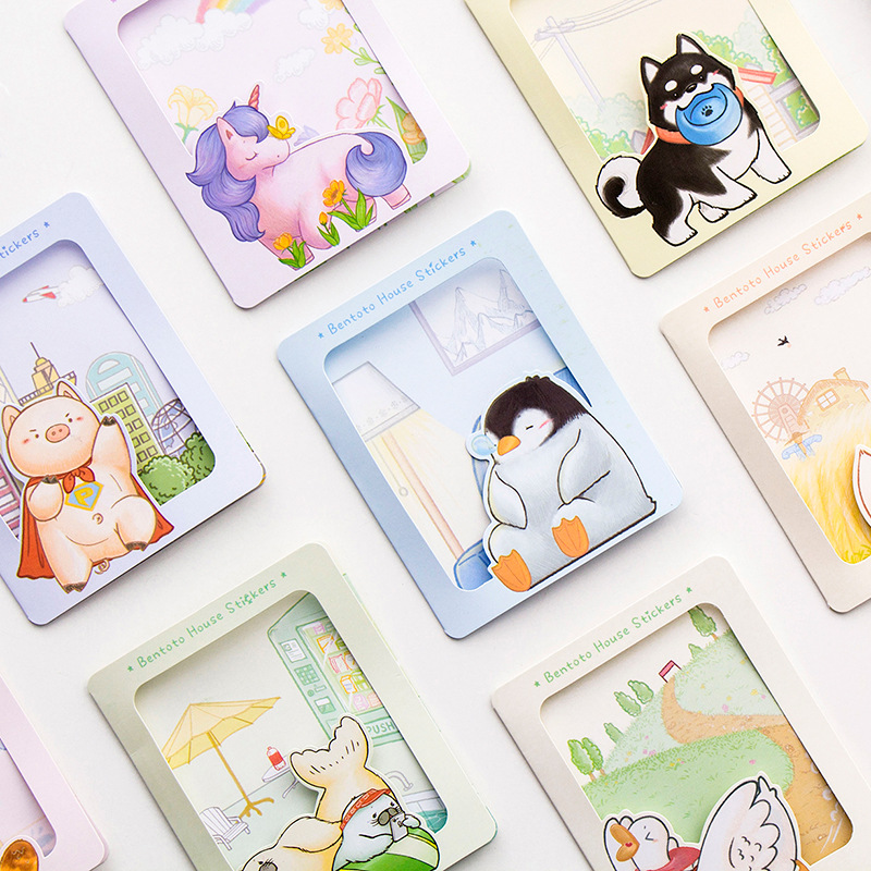 Creative Stationery Wholesale New Duck Unicorn Series Cartoon Hand Washi Paper Sticker Pack 40pcs/pack
