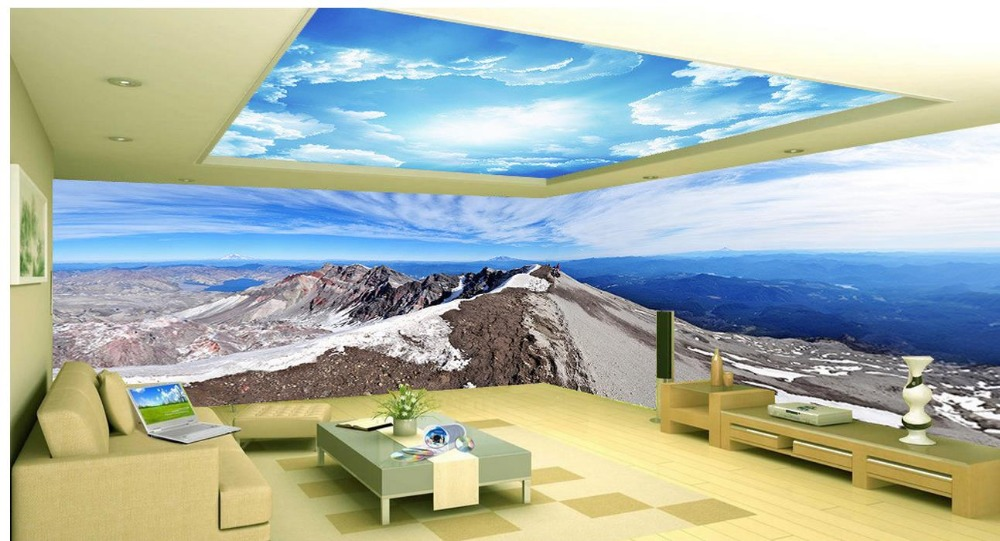 3d mural designs Blue and white living room bedroom space theme Home Decoration Non woven wallpaper  цены