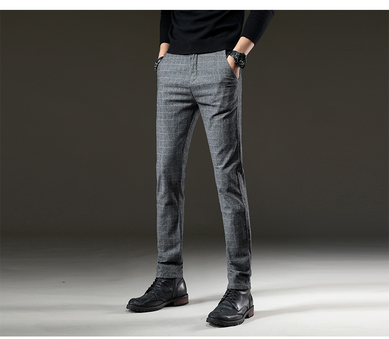 Brand Men's winter Fleece Fluff Thicken warm Casual Pants men Business Straight Elastic Thick Plaid cotton gray trousers male