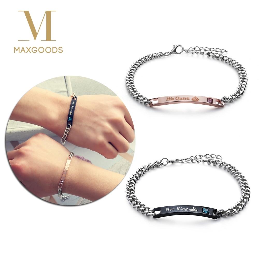 1 Pcs Diy Haar Koning Zijn Koningin Paar Armbanden Rvs Crytal Crown Charm Armbanden Voor Vrouwen Mannen Sieraden Jaarlijkse Koopjesverkoop