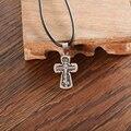 Metal multicolor SteelNecklace & cadeia de corda de couro pingente CrossBlack ChokerFashion bronze, jóias de ouro e prata antiga