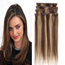 Clip In Human Hair Extensions Piano Color P4/27 Indian Virgin Hair Clip Ins Hair Extensions 7PCS 120G extensa cabelo clipe
