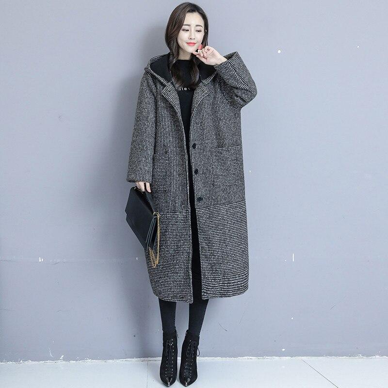 Large Size Women Autumn Winter Woolen Coat Medium Long Plus Velvet Thickening Woolen Jacket 2019 Striped Hooded Outerwear TTT170