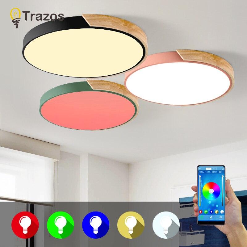 Современные светодиодные потолочные лампы RGB затемнения круглого дерева 5 см приложение дистанционное управление Bluetooth светильник спальня лампы умный потолочный светильник