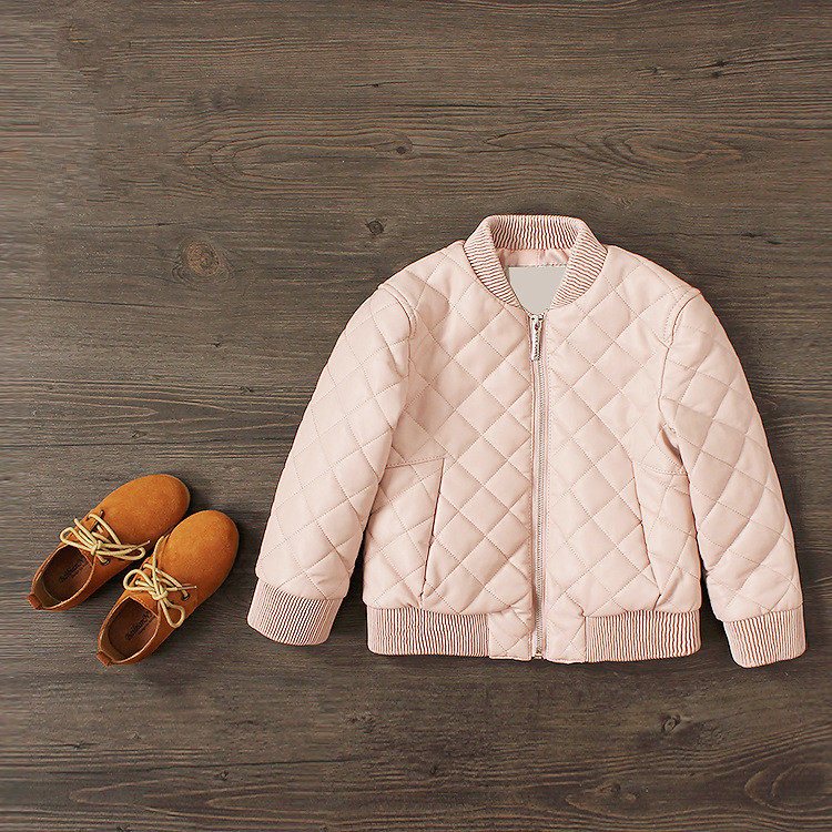 WENDYWU 2017 New Arrival Girls Jacket Mandarin Collar Long Sleeve Winter Faux Leather Coat Pink/Light Blue Color Suit For3-12Y