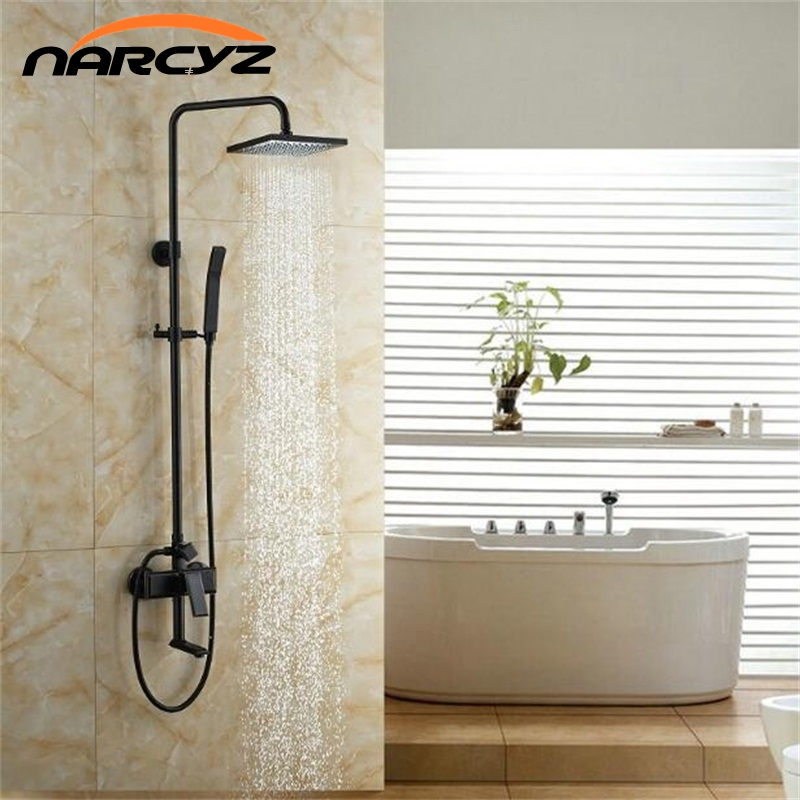 Wall Mount Good Quality Bathroom Rain Shower Mixer Faucet Set Single Handle Bath Shower Mixers with Tub Spout XT352 wall mount thermostatic shower faucet mixers chrome dual handle bathroom hand held bath shower taps