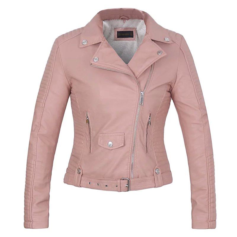 2018 New Fashion women   leather   coat soft faux   leather   Ladies pink jacket female coat Drop Shipping hot sale high quality spring