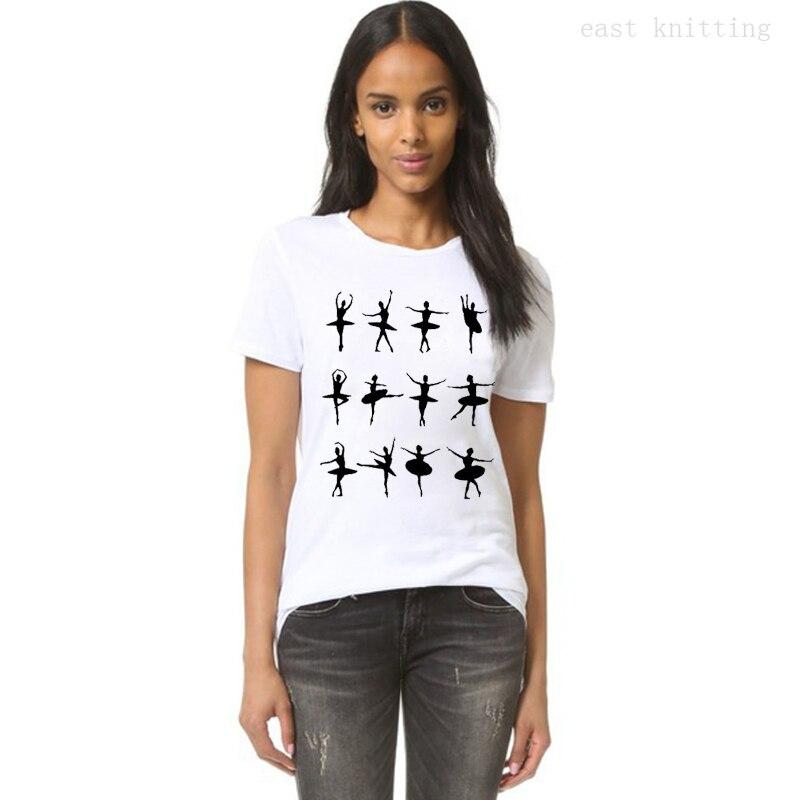 Women Black Mystery Dancing Ballerina T-shirt Summer Style Casual White T shirt