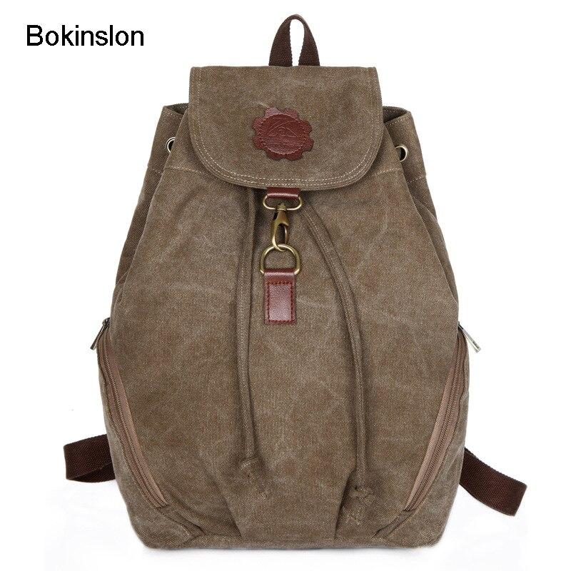 Bokinslon Men's Fashion Backpack Canvas College Wind Backpack Women Casual Large Capacity School Bag For Men