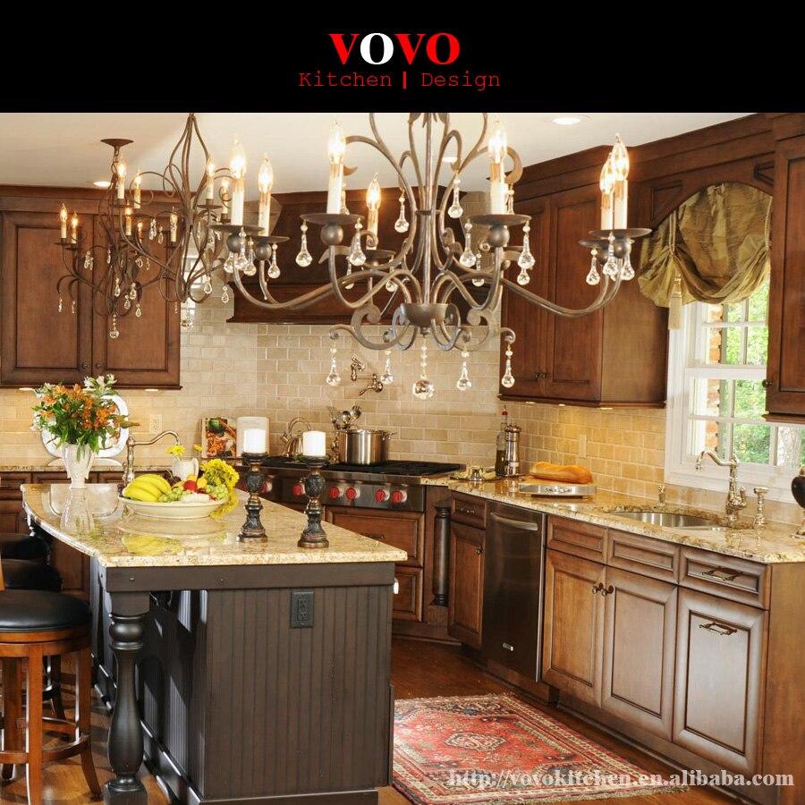Estilo clásico de madera maciza Muebles roble gabinete de cocina de ...