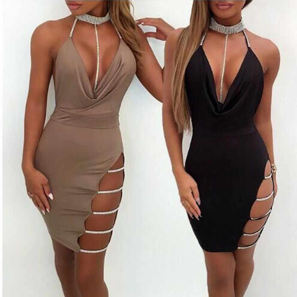 2e82a5264a810 Summer Dress Women Sexy Deep V Neck Halter Backless Slit Bodycon ...