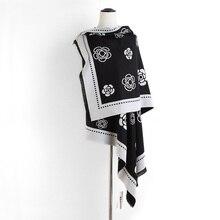 Yeni moda kadınlar kamelya çiçek kaşmir pashmina eşarp bayan kış kalın sıcak yün battaniye eşarp marka şal çift yüz
