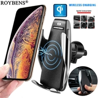 Wireless Charger Car Phone Holder For iPhone X Samsung S10 QI Fast Charge Universal Mobile Phone Stand Smartphone Holder Support