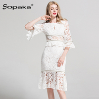 2018 Summer Lace Dress White / Black Half Sleeve Hollow Out Beading High Quality Empire A Ling Design Midi Women Dresses