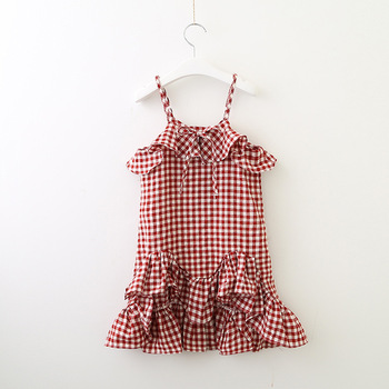 Summer Girl Plaid Tail Dress Cotton Ruffles Baby dress Sleeveless singlet Fashion Dress Baby Girl Clothes