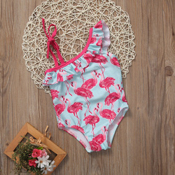 2017 От 1 до 6 лет купальный костюм с рисунком птицы для девочек, купальный костюм с одним плечом пляжная одежда для маленьких детей 3