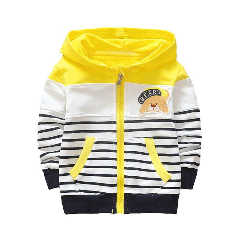 HOLAWLWG אופנה סתיו ילדי פתוח סלעית ילדים פסים חולצה דוב דפוסים מעיל בני בנות outerweawr בגדים