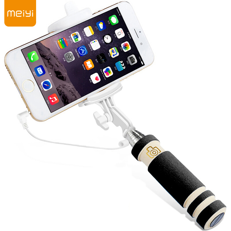 MEIYI S1 Extendable Wired Self Selfie Stick Monopod Cable Holder for iPhone 6s 6 Plus 5S 5 SE for Android Phone 4.2.2 Above