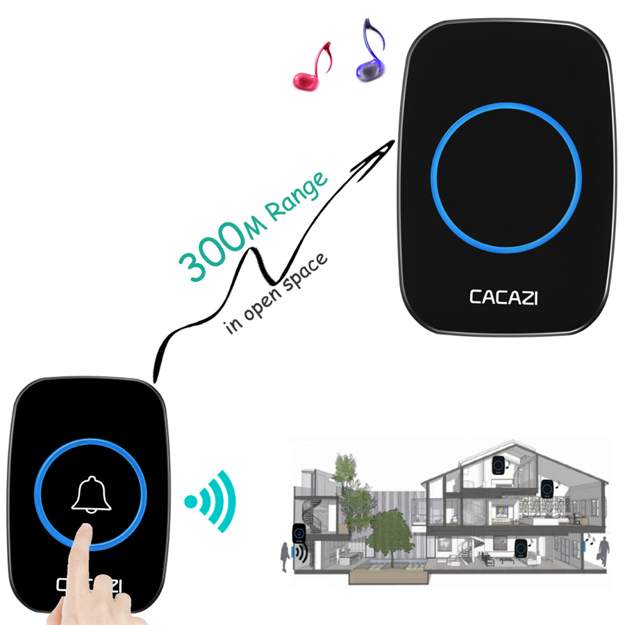 CACAZI 2017 NEW Wireless doorbell 38 Music 300M Remote Door bell chime EU UK US Plug LED light AC 110-220V 1 2 Button 1 2 receiver 4