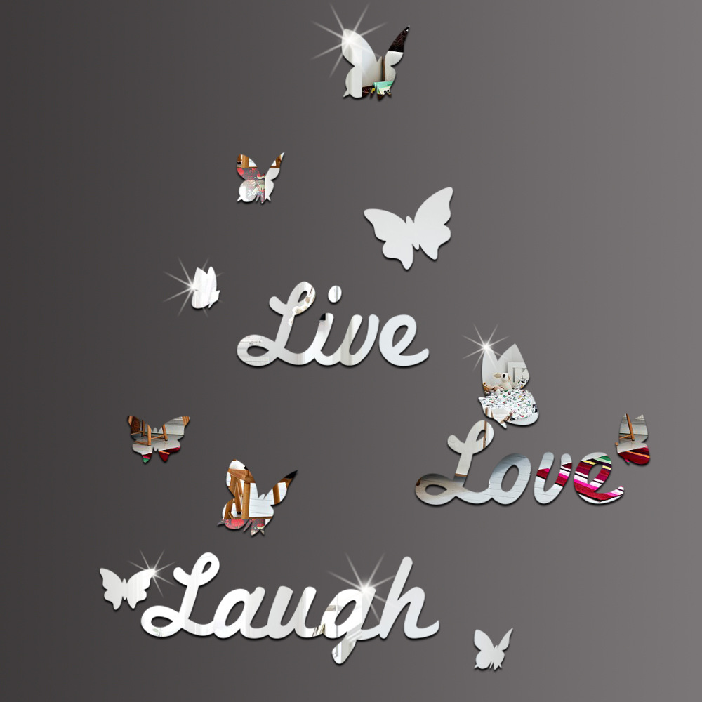 Aliexpress.com : Buy 10 Piece Butterfly Wall Decor Live Love Laugh Mirror  Wall Stickers Creative English Alphabet Wall Stickers Home Decor From  Reliable ... Part 62