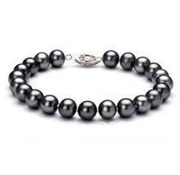 Selling Picture Wholesale Charming 7 8mm Freshwater Black Pearl Bracelet Design Jewelry 7 5