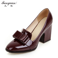 2016 Lady High Quality PU Leather Thick Heel Women S Pumps For Women Fashion Bowtie Square