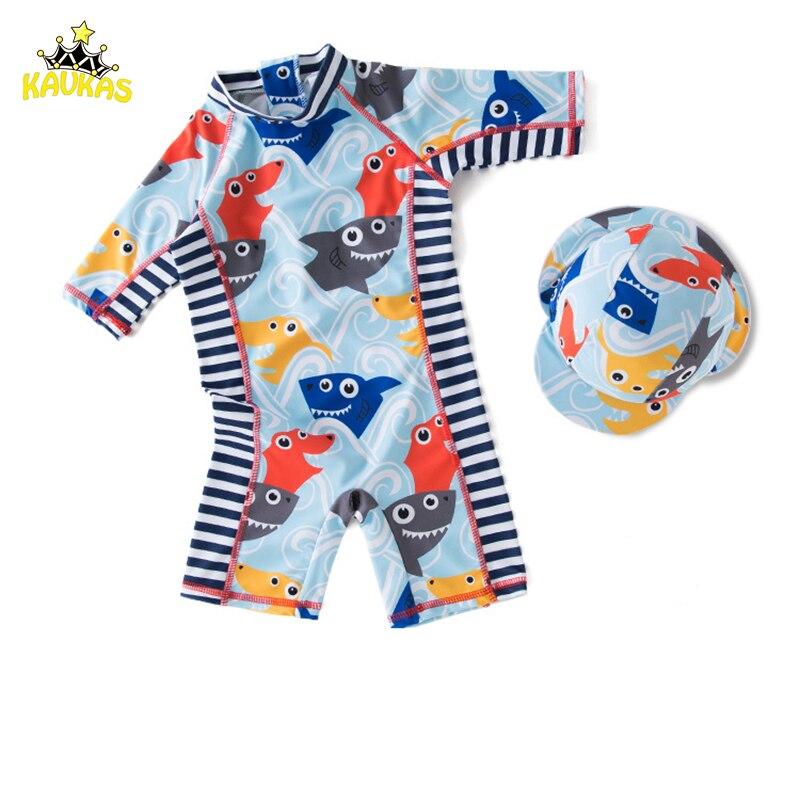 Baby Badeanzug Rash Guards Junge Fisch Cartoon Kinder Bademode Kleinkind Jungen Ein Stück Badeanzug Langarm Badeanzug Schwimmkleidung
