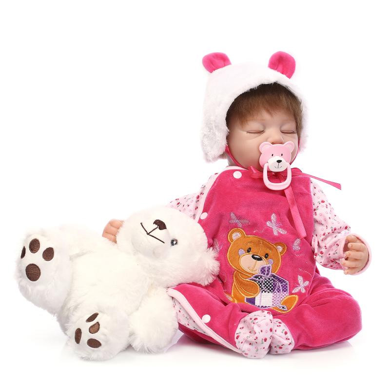 22 inch 55cm Silicone Reborn Baby Doll Toys for Girl Lifelike Reborn Babies play house Toy Birthday Gift Girl Brinquedods child 16 inch silicone reborn babies reborn doll cute full silicone baby doll for children girl birthday gift