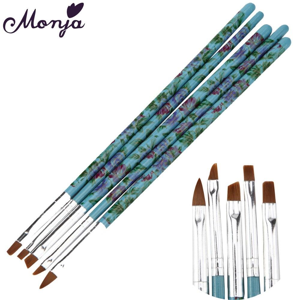 Monja 5Pcs / Set Nail Art rajz festési tippek Por tisztító kefe készítő akril UV gél kiterjesztés tervezési lapos toll manikűr eszköz