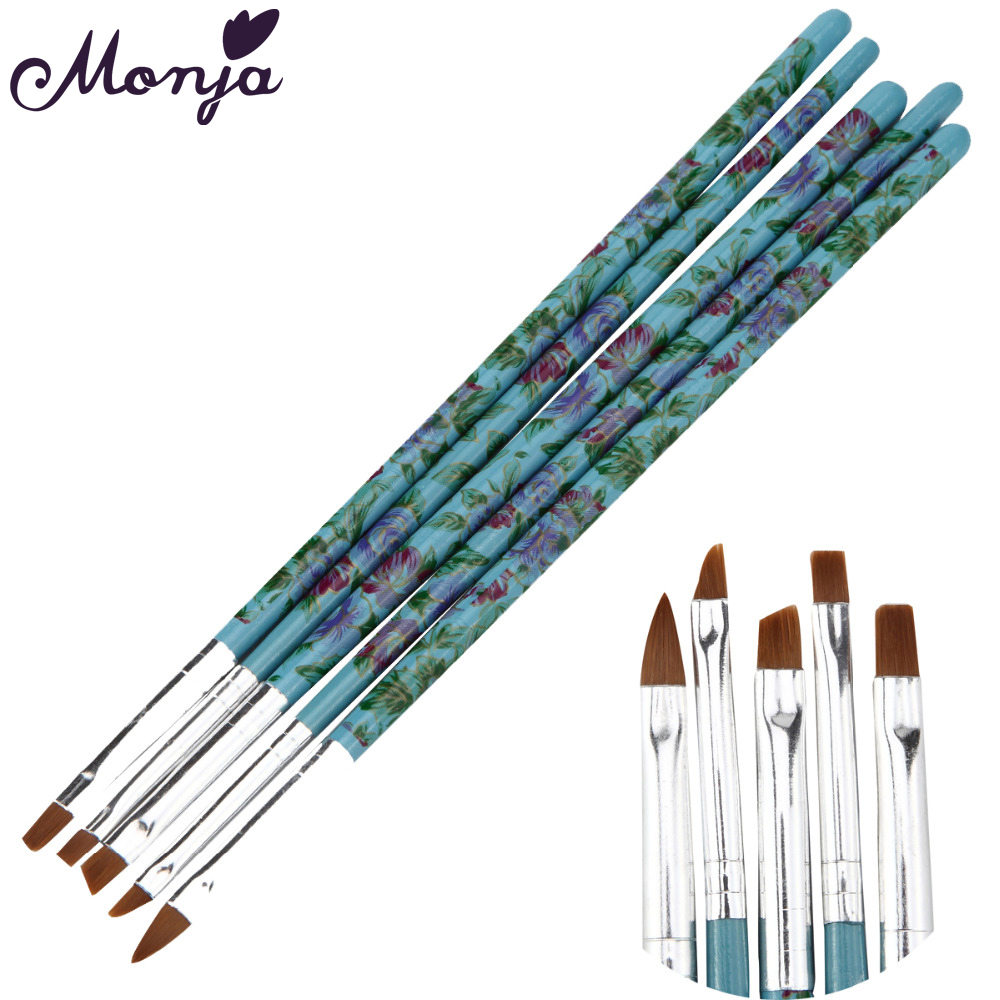 Monja 5Pcs / Set Nail Art Drawing Painting რჩევები მტვრის დასუფთავების ჯაგრისის აღმშენებელი აკრილის UV გელის გაფართოების დიზაინის ბინა კალამი მანიკურის ხელსაწყო