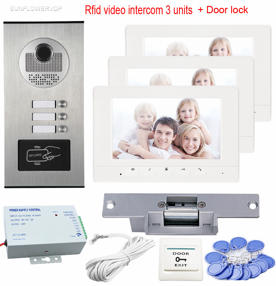 7 Rfid Home Phone Intercoms For A Private House Intercom 3 Monitors CCD Doorphones On The Front Door With Electric Strike Lock private l a