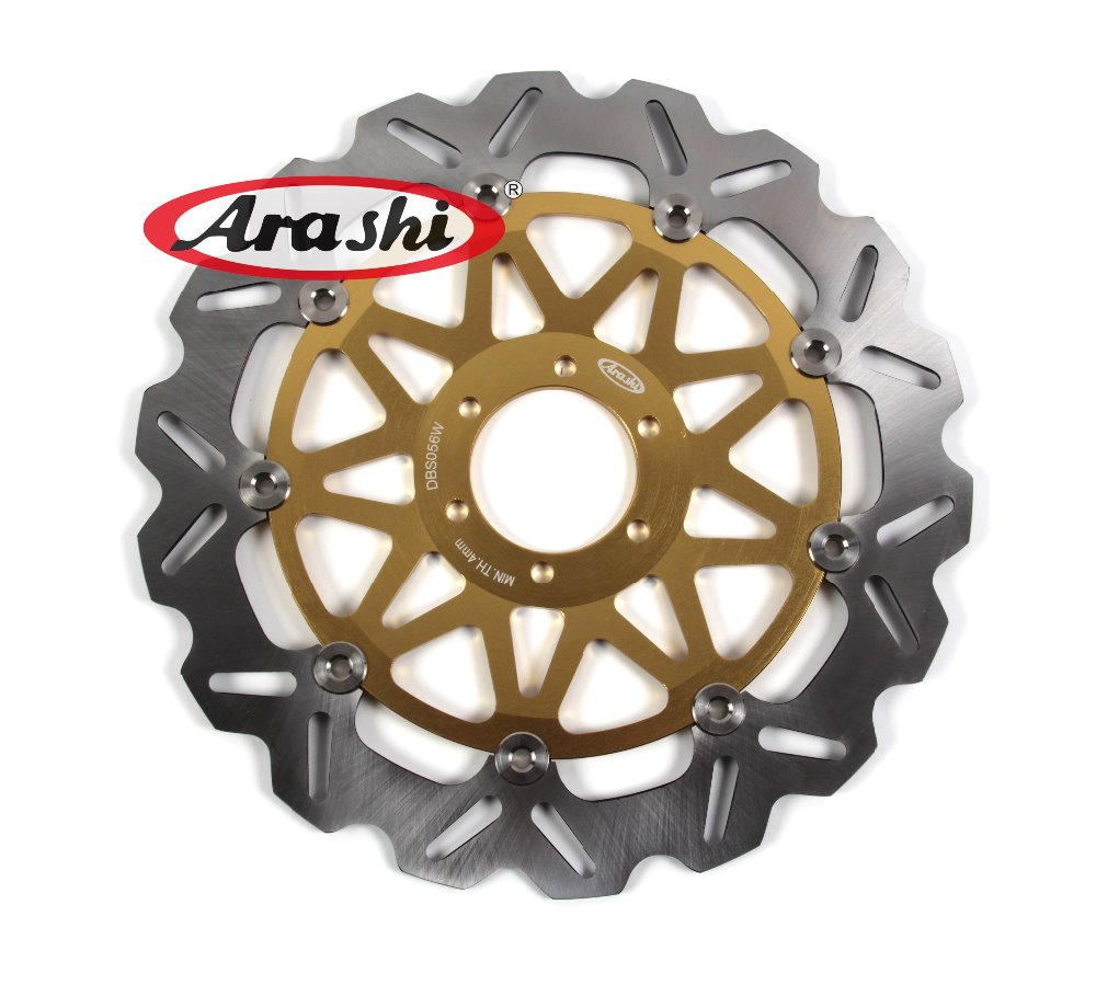 Arashi One Piece CNC Front Brake Disc Brake Rotors For CAGIVA MITO SP525 125 2006 2007 2008 2009 2010 Motorcycle Floating Disc pair steel front brake rotors disc braking disks for moto guzzi norge t gtl 850 2007 breva 1100 2005 2007 stelvio 1200 2008 2009