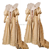 Tailored!Luxs Gold 18th Century Duchess Queen Marie Antoinette Court Victorian Gown Ball Dress Reenactment dresses HL 201