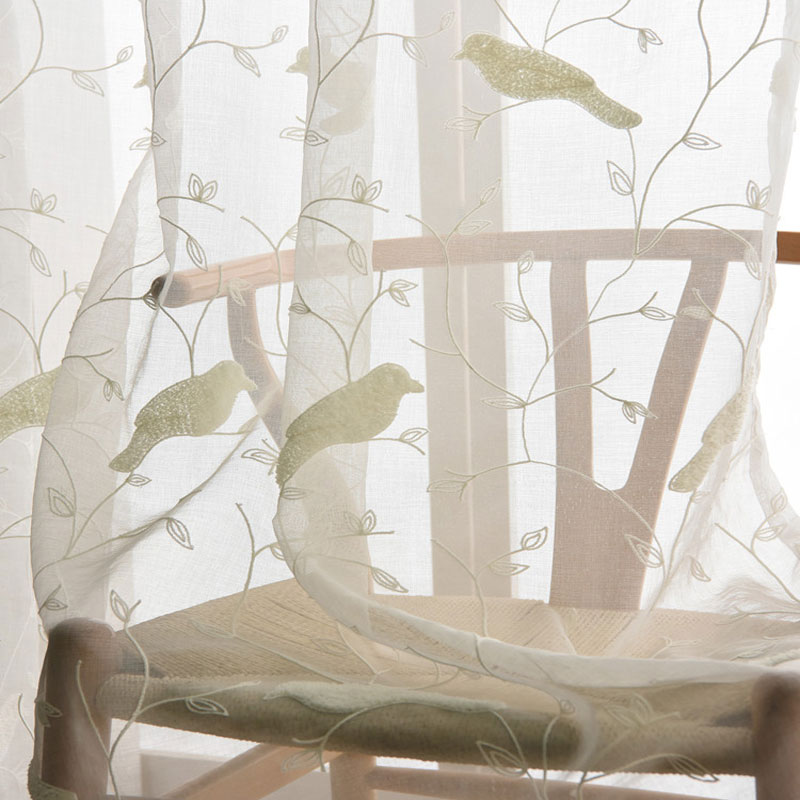 bird pattern 3d embroidery drape sheer curtain fabric tulle voile curtain window rustic fresh cotton bedroom curtains