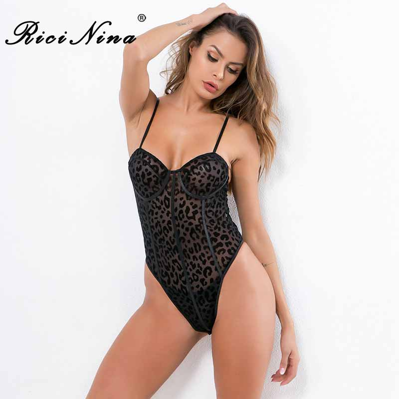 Trend Mark Ricinina 2019 Women Bodysuits Woman Leopard Print Sleeveless Sexy Bodycon Bodysuit Rompers Women Casual Spring Summer Jumpsuit Meticulous Dyeing Processes Bodysuits