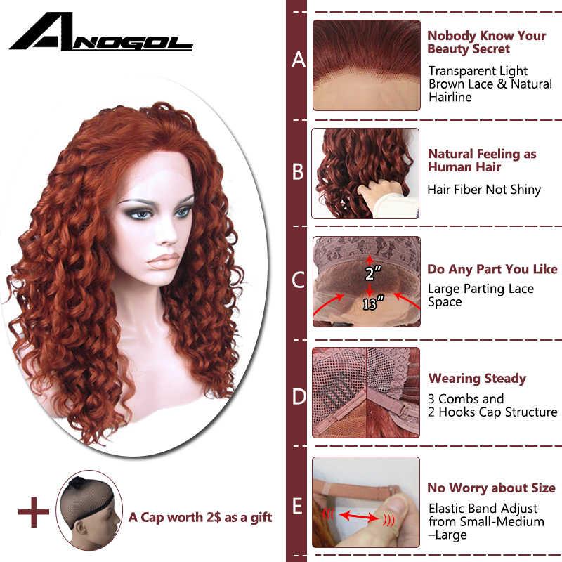 Парики из высокотемпературного волокна с ручной вязкой для волос, длинные кудрявые волосы, медный красный парик из синтетического волокна с бесплатной частью
