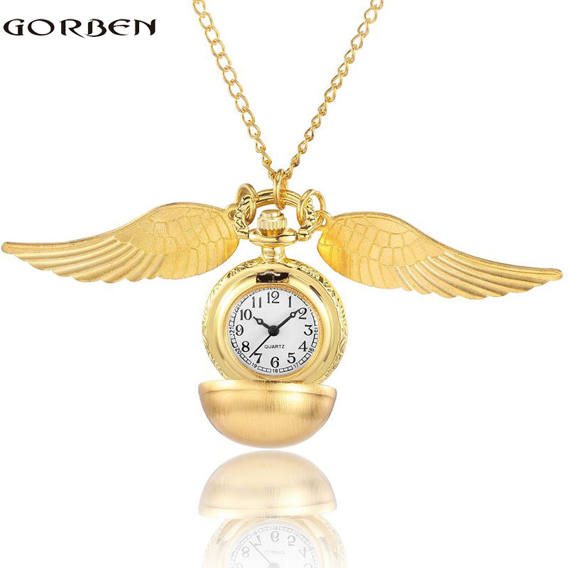 Vintage Golden Snitch Harry Potter Pocket Watch Kalung Wings Pusingan Ball Loket Rantaian Kuartet Fob Jam Untuk Kanak-kanak Hadiah Boy
