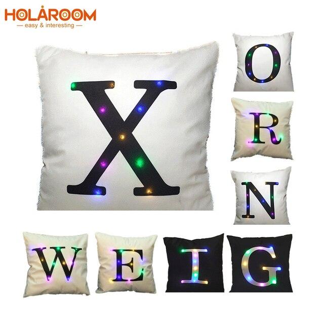 Alfabeto LED Cuscino copertura di illuminazione Lettere Stampato Cuscini di cope