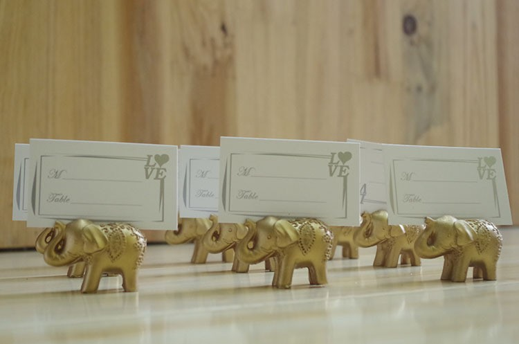 10pcs Gold Elephant Place Card Holder Wedding Bridal Shower Favors Gift rustic vintage centerpieces decoracion in Party Favors from Home Garden