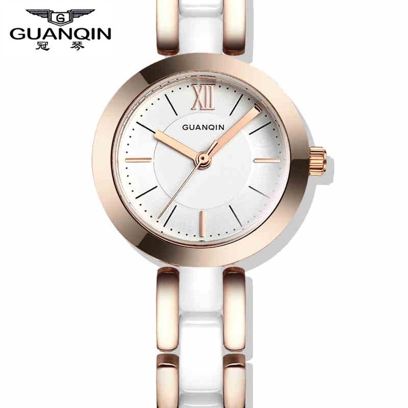 ФОТО 2015 New Fashion Ceramic Women's Watches Women Top Luxury Brand White Rose Gold Ladies Dress Quartz Watch Relogio Feminino