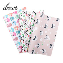 IBOWS 22*30cm Owl Panda Printed Faux Synthetic Leather Fabric Sheets For Handbags DIY Hair Bows Handmade Craft Sewing Materials ahb synthetic leather glitter printed unicorn shiny fabric faux leather sheets diy hair bows fabric handmade crafts materials