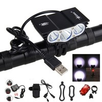 LED Bike Light Front USB Rechargeable 10000LM  XM-L 3XT6 LED Bicycle Lamps Torch Headlight + 4x18650 Battery Pack+Charger
