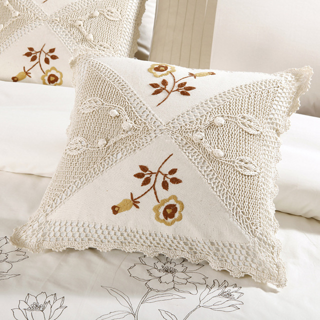 Cojín de algodón crochet tejidos bordado almohada caso de cojín ...