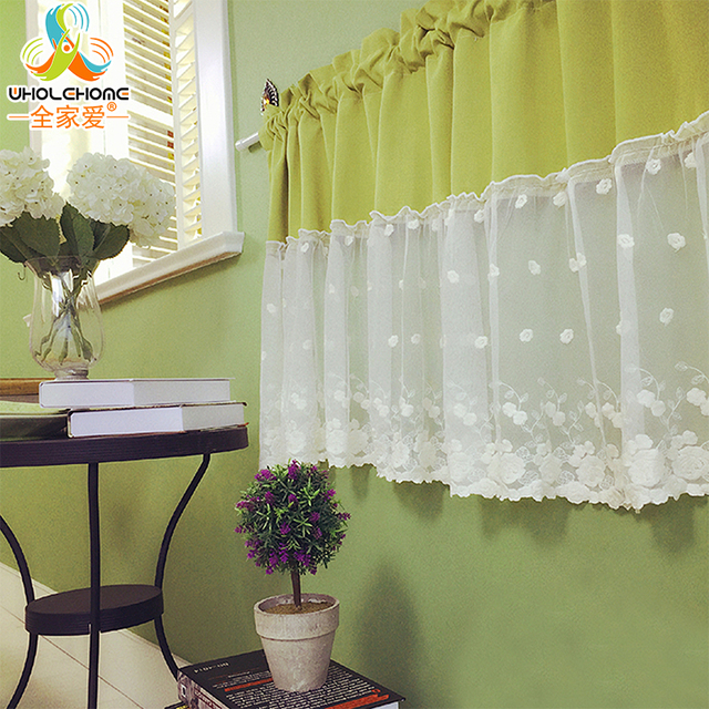 Cafe Curtains For Living Room Yellow Color Scheme Curtain Decorative Kitchen Fashion Lace Cotton Pastoral Style Small The