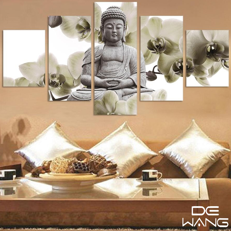 Painting 5 pieces canvas art buddha zen framed wall print for Modern home decor pieces