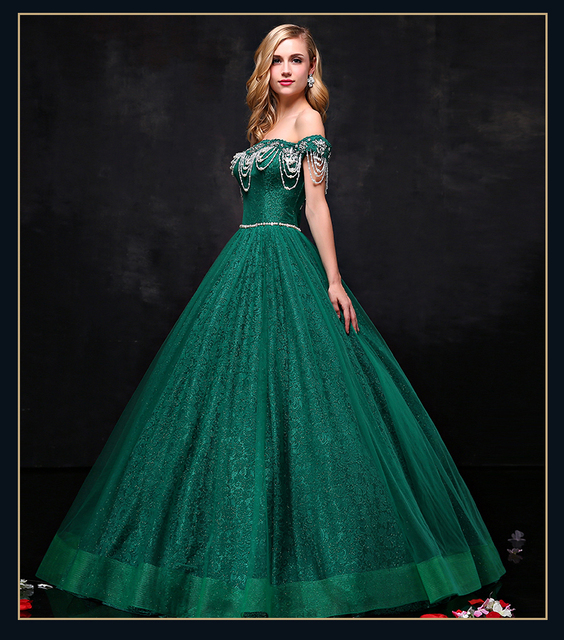 green lace embroidery beading shoulder long Medieval dress Renaissance gown Sissi princess Victorian cosplay Belle Ball gown