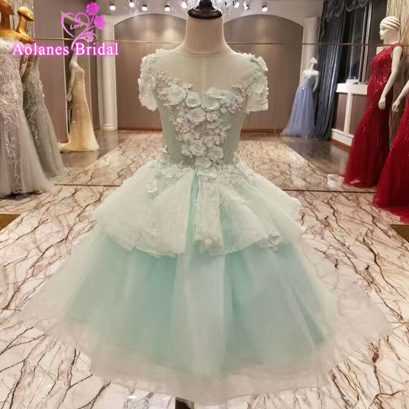 2017 Flower Girl Dresses With Appliques Pearls Lace Up Ball Gown First Communion Dress for Girls Customized Vestidos Party Dress