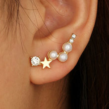 Women Simple Geometric Five-pointed Star Pearl With Irregular Earrings11.19(China)