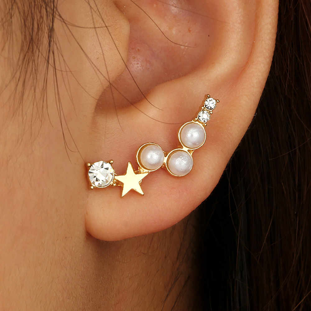 Women Simple Geometric Five-pointed Star Pearl With Irregular Earrings11.19